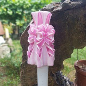 Lumanare sculptata manual, nunta/botez, alb/roz,personalizata cu nume si data