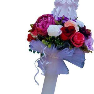 Lumânare sculptată manual, nunta/ botez cu flori artificiale Alb