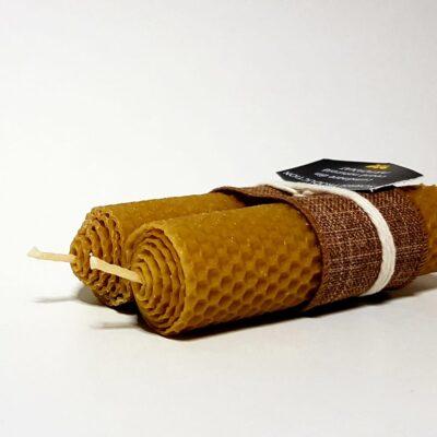 Lumânare ceară naturală de albine artizanat dubla 13cm
