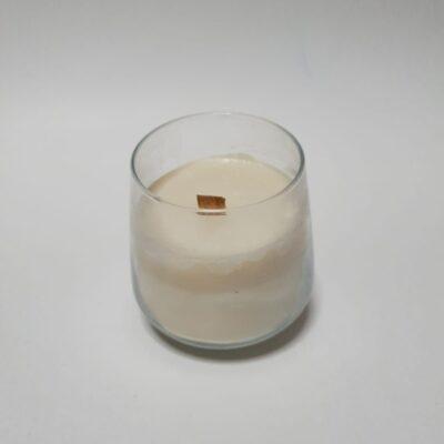 Lumânare naturală, cu fitil de lemn tropical, în pahar transparent, fără parfum