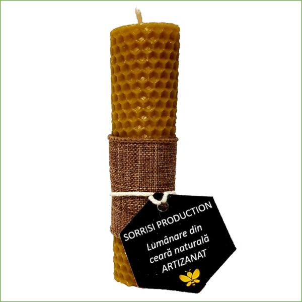 Lumânare ceară naturală de albine artizanat 13 cm inaltime, 2.5 cm diametru