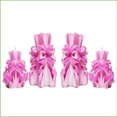 Set lumânări sculptate manual, parfumate, 4 bucăţi ROZ