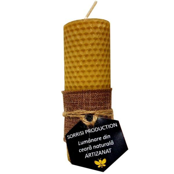 Lumânare ceară naturală de albine artizanat 13 cm, 5 cm diametru