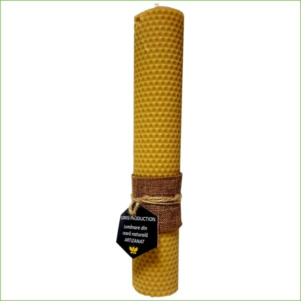 Lumânare ceară naturală de albine artizanat 26cm înălţime 5 cm diametru