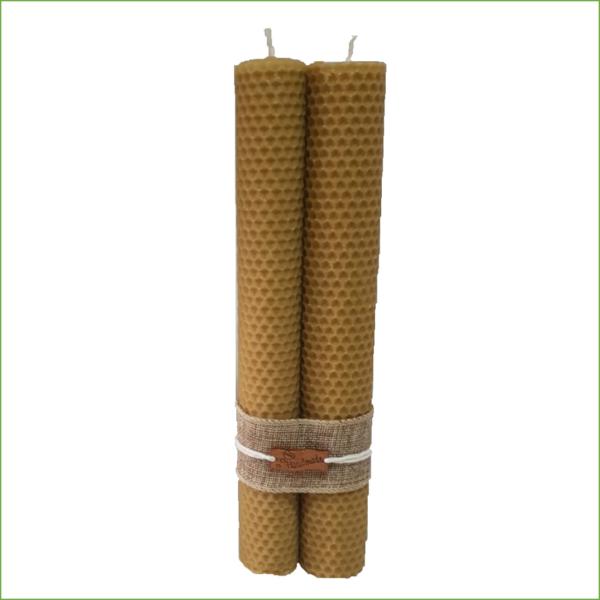 Lumânare ceară naturală de albine artizanat dubla 26cm