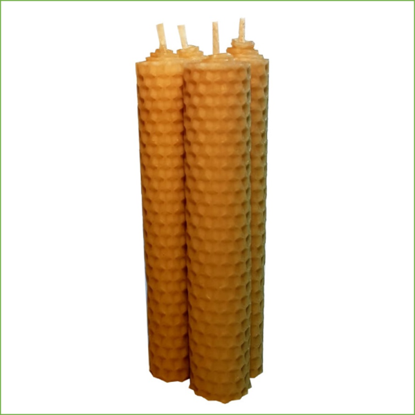 Lumânări ceară naturală de albine, set de 4 bucati, artizanat, 13cm