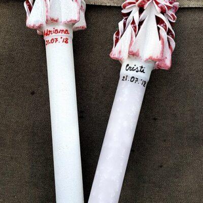 Lumanare sculptata manual, nunta/botez, alb-rosu,personalizata cu nume si data