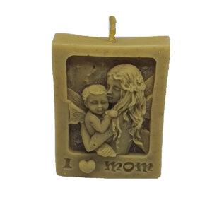"""Lumanare ceara naturala de albine artizanat """"I love mom"""", 6.5 cm"""