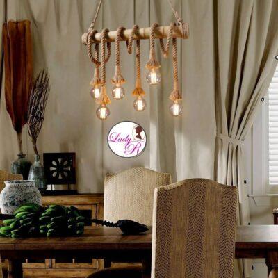 Lustra Vintage/Retro style cu Sfoara/Franghie  cu 6 Becuri rotunde incluse, cu 6 brate, pe lemn de bambus
