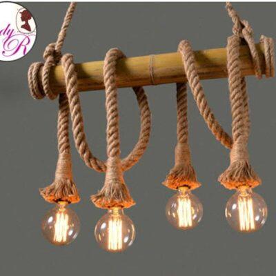 Lustra Vintage/Retro style cu Sfoara/Franghie  CU 4 BECURI EDISON ROTUNDE INCLUSE, cu 4 brate, pe lemn de bambus