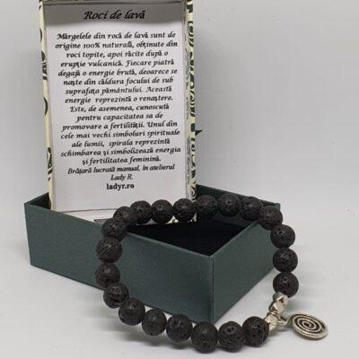 Bratara cu roci vulcanice si cu spirala infinitului, pentru aromaterapie in cutiuta cadou