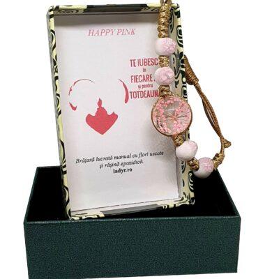 Bratara handmade cu floare naturala, Roz, marime reglabila, in cutiuta cu mesaj