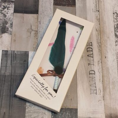 Set cadou de caligrafie cu pana naturala verde, 5 penite si sticluta de cerneala