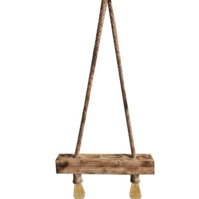 Lustra lucrata manual din lemn ars si sfoara, in Romania, cu 2 brate, lemn de 50cm,  vintage/retro style