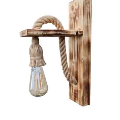 Aplică lucrată manual din lemn de pin ars și sfoară de cânepă, CU BEC EDISON INCLUS, tip led