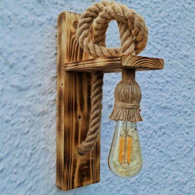 Aplica lucrata manual din lemn de pin si sfoara de canepa, model cu nod, CU BEC EDISON INCLUS, tip led