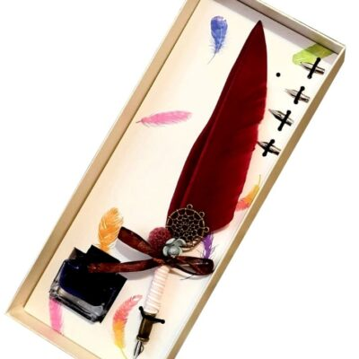 Set cadou de caligrafie cu pana naturala rosie, 5 penite si sticluta de cerneala