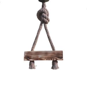 Lustra lucrata manual din lemn ars si sfoara, in Romania, cu 2 brate, vintage/retro style lemn de 30 cm,