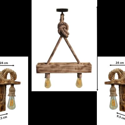 Set lustra si 2 aplice, lucrate manual din lemn si canepa, CU BECURI EDISON INCLUSE