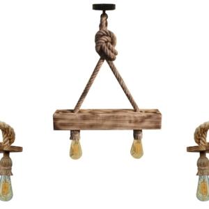 Set lustra si 2 aplice, lucrate manual din lemn si canepa, model cu nod, fără becuri
