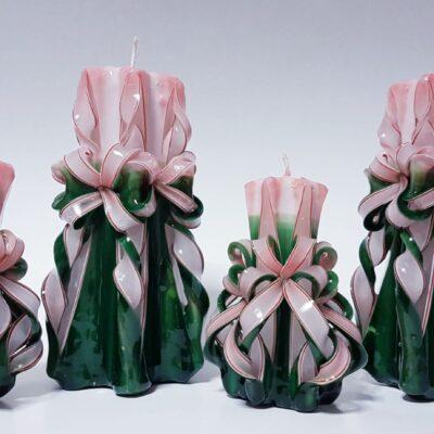 Set lumânări sculptate manual, parfumate, 4 bucăţi VERDE-ROȘU