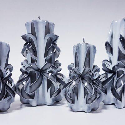 Set lumânări sculptate manual, parfumate, 4 bucăţi ALB-NEGRU