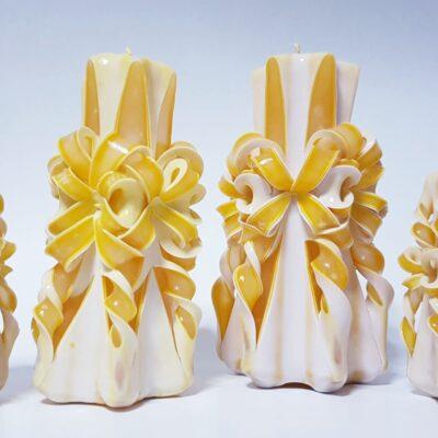 Set lumânări sculptate manual, parfumate, 4 bucăţi GALBEN