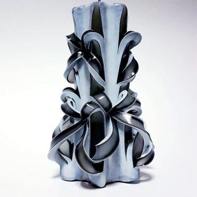 Lumânare sculptată manual, 20 cm, ALB-NEGRU