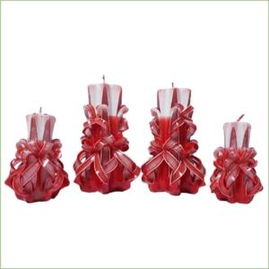 Set lumânări sculptate manual, parfumate, 4 bucăţi ROȘU