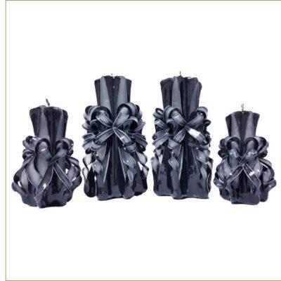 Set lumânări sculptate manual, parfumate, 4 bucăţi NEGRU