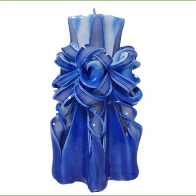 Lumânare sculptată manual, 20 cm, ALBASTRU
