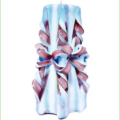 Lumânare sculptată manual, 20 cm, TRICOLOR