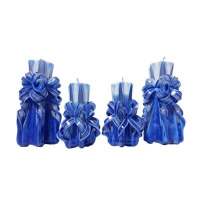 Set lumânări sculptate manual, parfumate, 4 bucăţi ALBASTRU