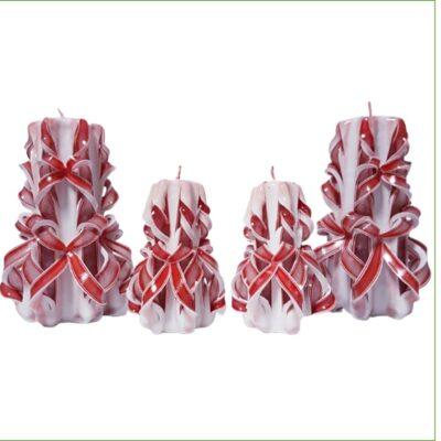 Set lumânări sculptate manual, parfumate, 4 bucăţi ALB-ROȘU