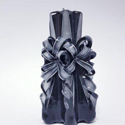 Lumânare sculptată manual, 20 cm, NEGRU