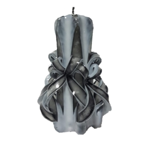 Lumânare sculptată manual, 11cm, ALB-NEGRU